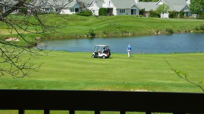 Live entertainment as golfers slowly file by the pond, fishing for lost balls.