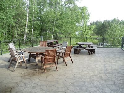 Pequot Lakes cabin rental - Entertainment deck area!