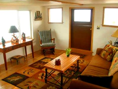 Homer lodge rental - The living room has a sleeper sofa.
