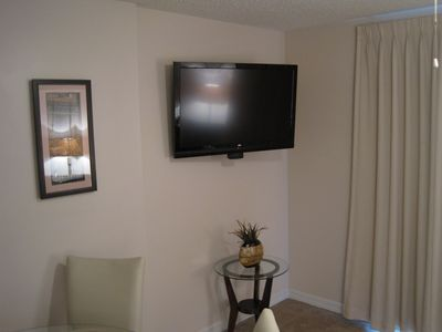 "42"" flat screen HDTV. Watch your favorite program from the living or dining area"