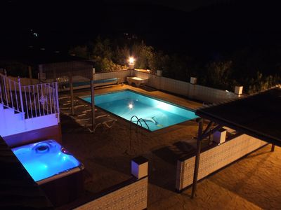Iznajar farmhouse rental - Heated Pool And Hot Tub At Nght