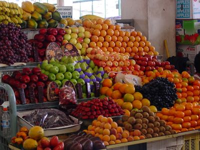 Fruits in the market. Plenty of fresh food! Inexpensive
