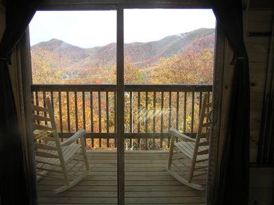 "Fall view from top ""sunrise"" deck. Gatlinburg is just over the mountain."