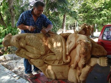 Watch artisans work, paintings, sculpture, Mayan traditional wares.