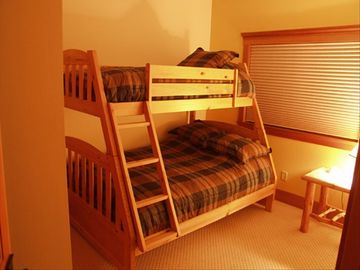 Basement bedrooms have double bunk beds