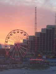 Daytona Beach house photo - The Ferris wheel & the Slingshot at sunset (seen from Joe's Crab Shack rooftop),