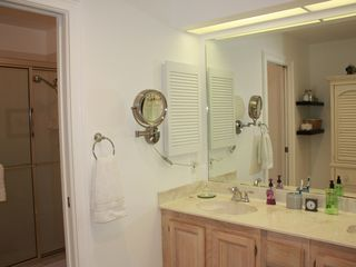 Old Naples house photo - Master bath with separate vanity area from toilet and large shower.