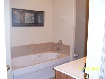 Master Bath with jetted tub, separate shower and walk in closet.