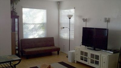 Large flat screen TV and DVD for your enjoyment plus futon sofabed.