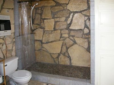 Large, custom built stone and tile shower.  Enjoy it, but please conserve water.