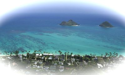 View of the Mokulua Islands from an easy hike in Lanikai