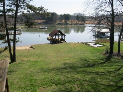 Dock and private gazebo on property