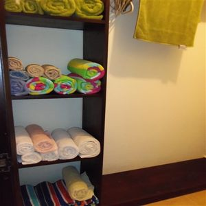 Walk In Closet with Safety Deposit Box, Beach Towels, Extra Linens