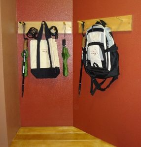 Canvas shopping bags, backpack, hiking sticks and umbrellas for Summer.