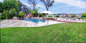 Anaheim Hills house rental - Backyard Grass Area For The Kids To Play On With View Of The City And Mountain's