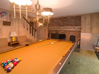 Quechee house photo - Downstairs Pool Table Room with Wood Stove