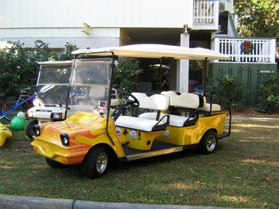 Best golf cart on the island. six seater, 22mph, cd player