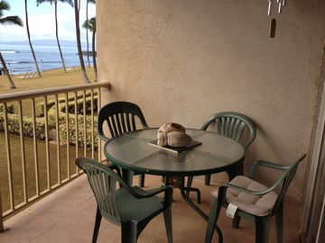 Enjoy eating on the lanai