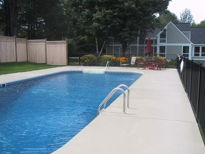 The heated pool has graduated depth and is large enough for everyone