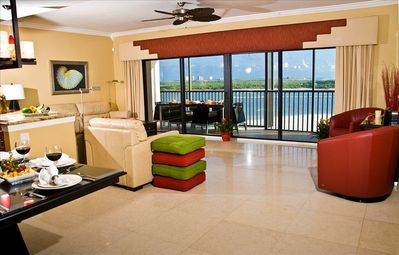 Living room views of Gulf of Mexico. Pleanty of seating for 10.