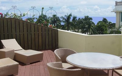 fabulous view of ocean from front deck. There is another deck out the master.