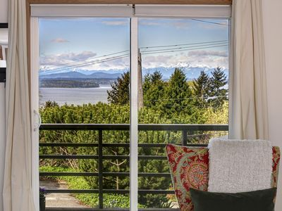 View from living/dining room of Puget Sound with Olympic Mountains in background