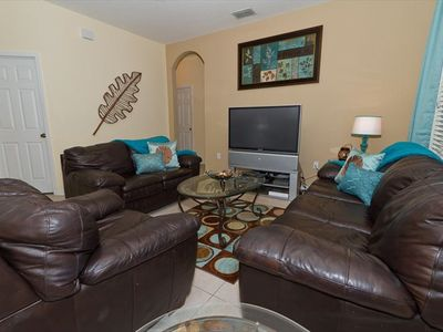 Windsor Hills villa rental - Family Room with Plenty of Seating and Open to Kitchen