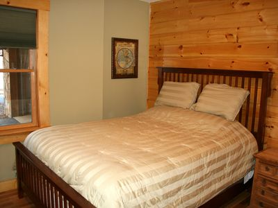Black Mountain lodge rental - Bedroom #5 on first level with queen bed