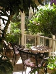 Wailea condo rental - Tiled Lanai Under the Plumeria Tree