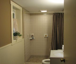 Bathroom with double shower.