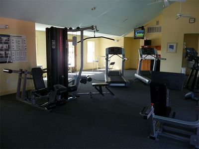 Great gym in community center - ellipticals, machines, free weights, TV, shower