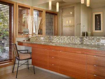 Luxury bathrooms, custom cabinetry,granite, tile. Master bath has steam shower
