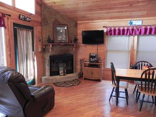 Wears Valley cabin photo - Livingroom, fireplace and television