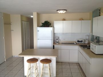 Absolutely immaculate. Brand new appliances. Kitchen fills with sounds of ocean.