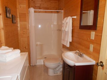 Master bath with shower, washer-dryer, plush towels, etc., in Wears Valley cabin