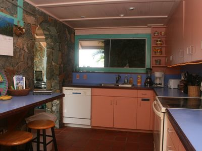 Chocolate Hole villa rental - Kitchen is set up with appliances & utensils for cooking and dishwashing.