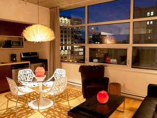 Montreal condo photo - living room - view at night