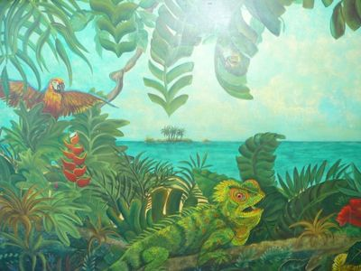 Large handmade tropical mural covering the front of the kitchen bar