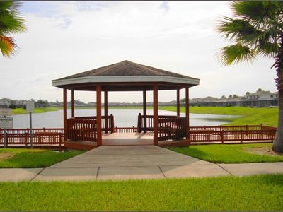 The gazebo, lake and fishing dock