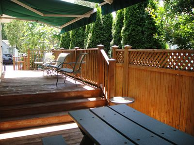 Decks...sitting and eating areas w/ awnings