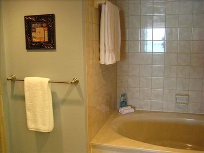 MASTER BATHROOM WITH SOAKER TUB, SEPARATE SHOWER AND HIS AND HER SINKS