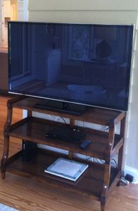 50 Inch Panasonic Flat Screen TV with Web capability. In Den w/ sectional couch