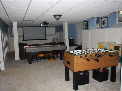 Basement with projection TV- there are FOUR floors of living space