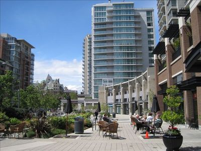 A public terrace area faces south and gets lots of sun (Marriott Hotel in b.g.)