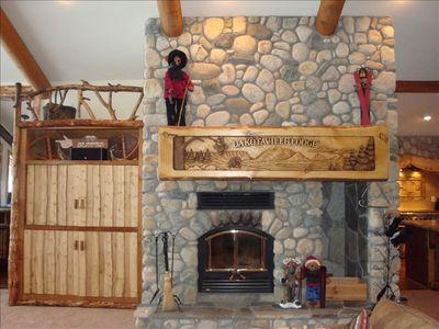 River Rock Fireplace and Built-In Entertainment Center