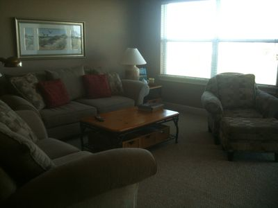Another view of the large living area with lots of sunshine!
