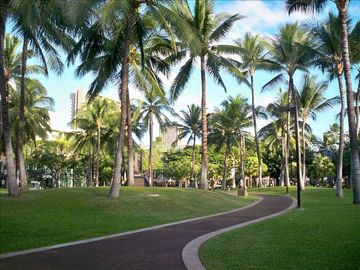 Serene Walk to Waikiki Beach through Fort DeRussy Park-Smell Flowers Not Fumes!!