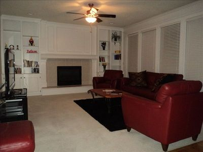 Family Room fireplace, 52inch TV Cable DVD/VHS combo Stero System Surround Sound
