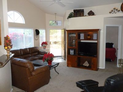 Great Room with HDTV, New Leather Furniture, Paint and Carpet