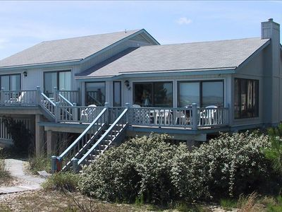 Enjoy the deck, or walk over the dunes to the wide beach
